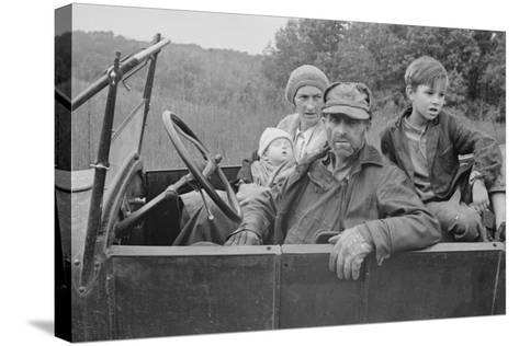 A Destitute Family with Their Old Car in Ozark Mountains During the Great Depression. Oct, 1935--Stretched Canvas Print