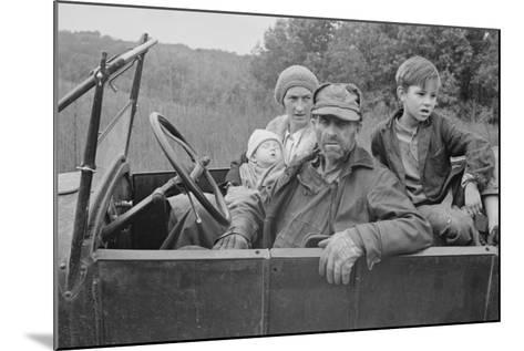 A Destitute Family with Their Old Car in Ozark Mountains During the Great Depression. Oct, 1935--Mounted Photo