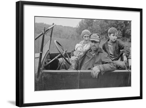 A Destitute Family with Their Old Car in Ozark Mountains During the Great Depression. Oct, 1935--Framed Art Print