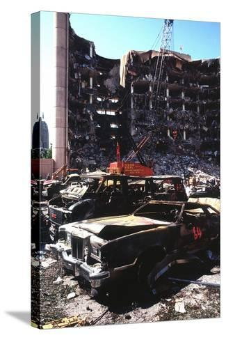 Destroyed Automobiles Near the Bombed Alfred Murrah Federal Building, 1995--Stretched Canvas Print