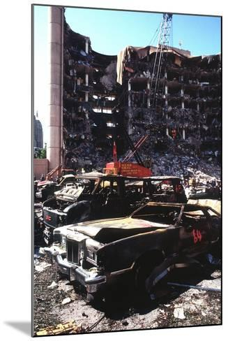 Destroyed Automobiles Near the Bombed Alfred Murrah Federal Building, 1995--Mounted Photo