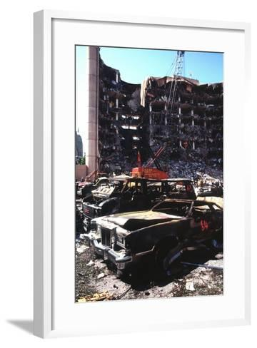 Destroyed Automobiles Near the Bombed Alfred Murrah Federal Building, 1995--Framed Art Print