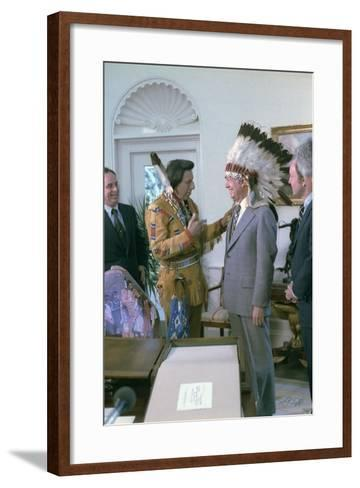 Jimmy Carter Wearing a Feathered Headdress with 'Iron Eyes' Cody , April 21, 1978--Framed Art Print