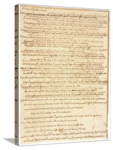 Thomas Jefferson's First Inaugural Address Written in His Own Hand, 1801--Stretched Canvas Print