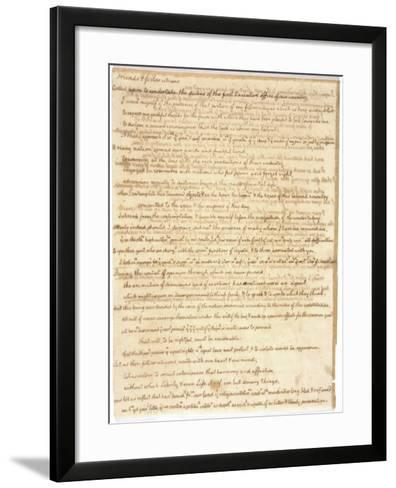 Thomas Jefferson's First Inaugural Address Written in His Own Hand, 1801--Framed Art Print