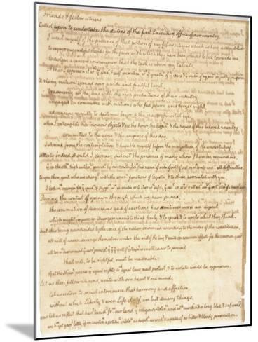 Thomas Jefferson's First Inaugural Address Written in His Own Hand, 1801--Mounted Art Print