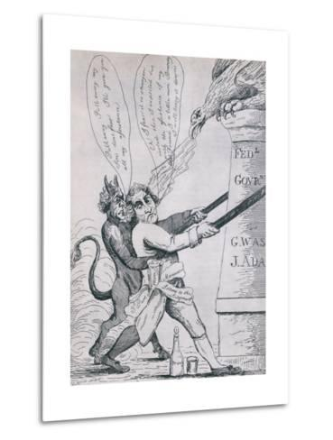 Federalist Cartoon Depicting Jefferson Tearing Down Pillars of Government, 1800s--Metal Print