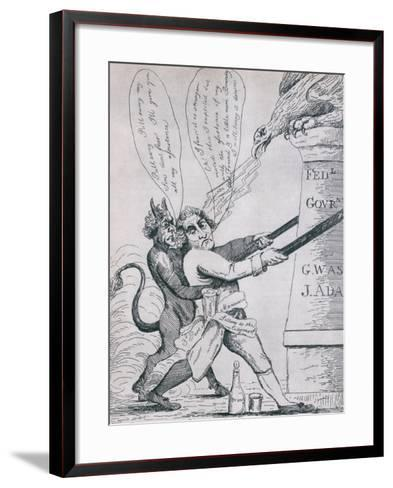 Federalist Cartoon Depicting Jefferson Tearing Down Pillars of Government, 1800s--Framed Art Print