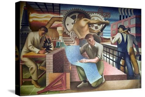Wpa Mural. Mural by Charles Klauder Ca, 1940. Located in the Cohen Building Washington D.C--Stretched Canvas Print