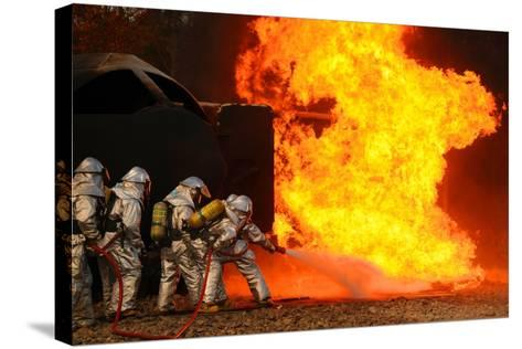 Ohio Air National Guardsmen Extinguish an Aircraft Fire in Training Exercise, 2010--Stretched Canvas Print