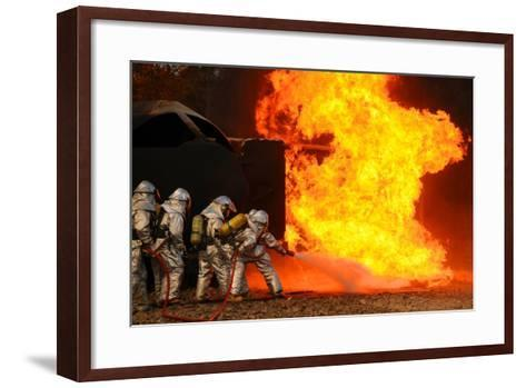 Ohio Air National Guardsmen Extinguish an Aircraft Fire in Training Exercise, 2010--Framed Art Print