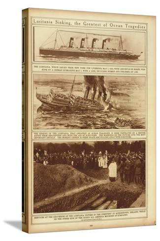 New York Times Illustrations of Sinking of the Lusitania by a German Submarine, 1915--Stretched Canvas Print
