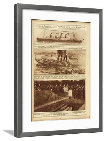 New York Times Illustrations of Sinking of the Lusitania by a German Submarine, 1915--Framed Art Print