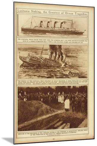New York Times Illustrations of Sinking of the Lusitania by a German Submarine, 1915--Mounted Art Print