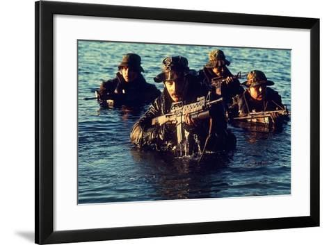 US Navy SEAL Team Emerges from Water During Warfare Training, Dec. 1, 1986--Framed Art Print