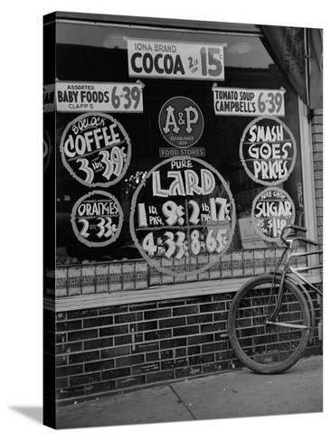 A&P Chain Food Market Advertises its 1939 Food Prices--Stretched Canvas Print