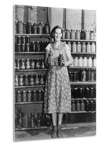Housewife Proudly Displays Her Home Grown and Canned Food. Colorado, Sept. 1939--Metal Print