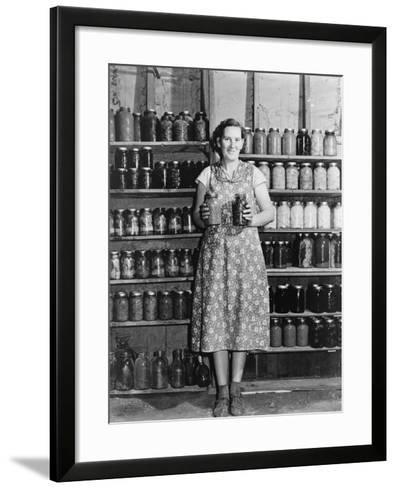 Housewife Proudly Displays Her Home Grown and Canned Food. Colorado, Sept. 1939--Framed Art Print