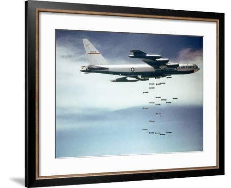 Us Air Force B-52 Dropping 750 Pound Bombs over Vietnam, Ca. 1965-1966--Framed Art Print