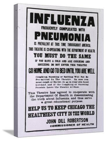 Public Health Poster Relating to the Spanish Flu Epidemic in Chicago During the Fall of 1918--Stretched Canvas Print