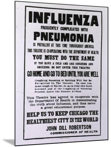Public Health Poster Relating to the Spanish Flu Epidemic in Chicago During the Fall of 1918--Mounted Art Print
