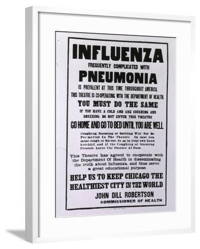 Public Health Poster Relating to the Spanish Flu Epidemic in Chicago During the Fall of 1918--Framed Art Print