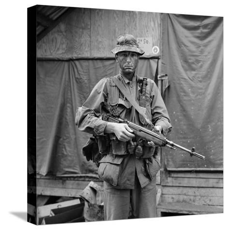 US Marine Sergeant Prepared to Go into a Field, Vietnam, April 1967--Stretched Canvas Print