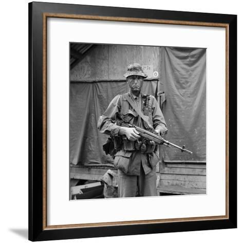 US Marine Sergeant Prepared to Go into a Field, Vietnam, April 1967--Framed Art Print