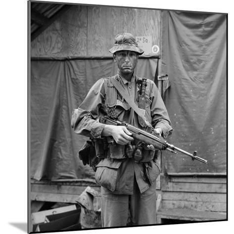 US Marine Sergeant Prepared to Go into a Field, Vietnam, April 1967--Mounted Photo