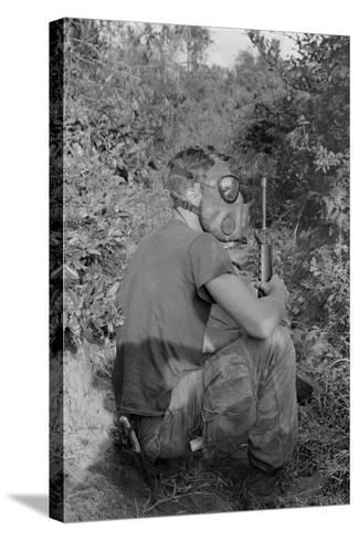 US Marine Wearing Gas Mask to Enter a Viet Cong Tunnel in 1968--Stretched Canvas Print