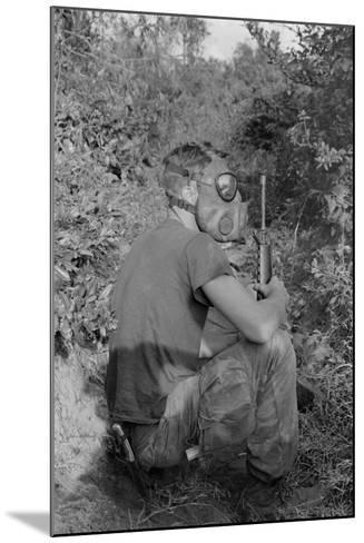 US Marine Wearing Gas Mask to Enter a Viet Cong Tunnel in 1968--Mounted Photo