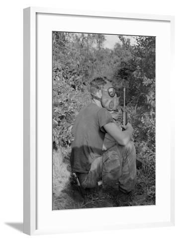 US Marine Wearing Gas Mask to Enter a Viet Cong Tunnel in 1968--Framed Art Print