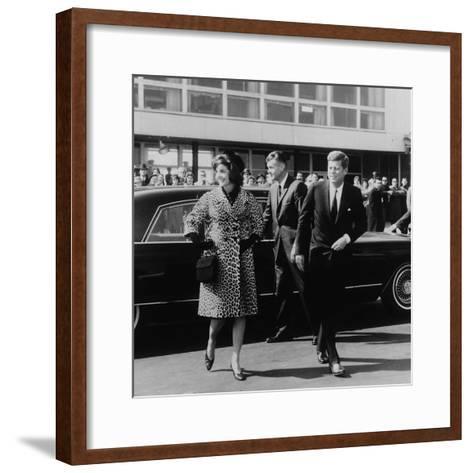 Jackie Kennedy Depart for India in Oleg Cassini Leopard Skin Coat, Mar. 8, 1962--Framed Art Print