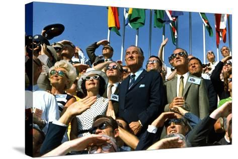 VP Spiro Agnew and Lyndon Johnson Watch Apollo 11 Moon Launch, July 16, 1969--Stretched Canvas Print