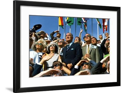 VP Spiro Agnew and Lyndon Johnson Watch Apollo 11 Moon Launch, July 16, 1969--Framed Art Print