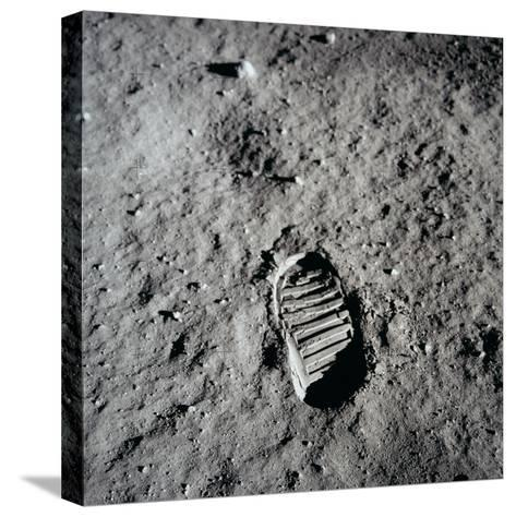 Apollo 11 Boot Print on the Moon. July 20, 1969--Stretched Canvas Print