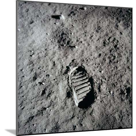 Apollo 11 Boot Print on the Moon. July 20, 1969--Mounted Photo