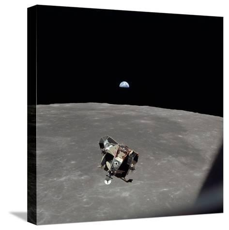 The Apollo 11 Lunar Module Ascending from Moon's Surface, July 20, 1969--Stretched Canvas Print