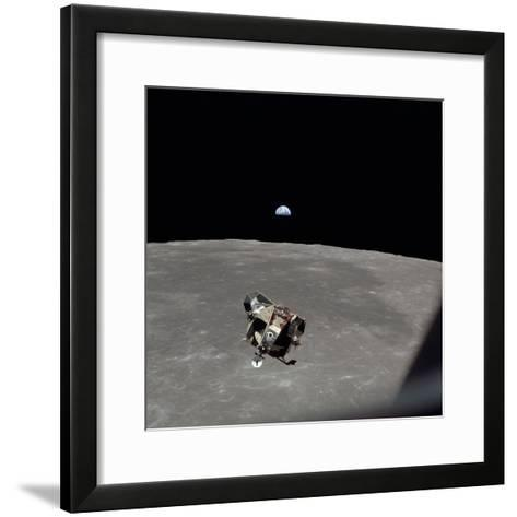 The Apollo 11 Lunar Module Ascending from Moon's Surface, July 20, 1969--Framed Art Print
