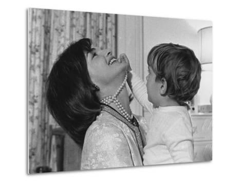 Jackie Kennedy Laughs as Her Son John Jr, Plays with Her Pearl Necklace, Nov.1962--Metal Print