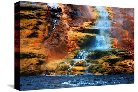 Mammoth Hot Springs Waterfall-Howard Ruby-Stretched Canvas Print