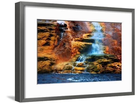 Mammoth Hot Springs Waterfall-Howard Ruby-Framed Art Print