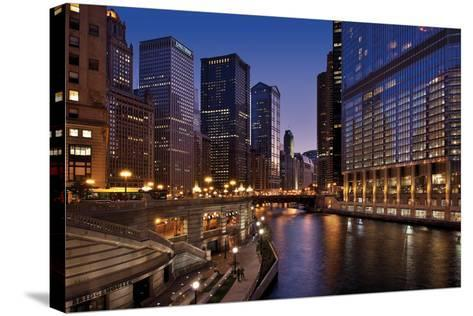 Chicago River Dusk II-Larry Malvin-Stretched Canvas Print