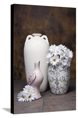 Vases with Daisies II-C^ McNemar-Stretched Canvas Print
