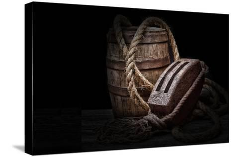 Antique Pulley and Barrel-C^ McNemar-Stretched Canvas Print