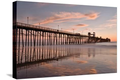 Pier Sunset 1-Lee Peterson-Stretched Canvas Print