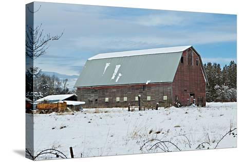 Red Barn in Winter-Dana Styber-Stretched Canvas Print