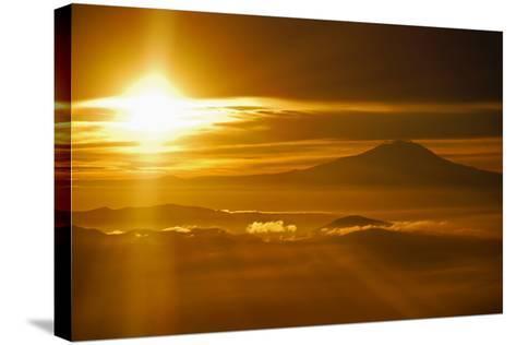 Rainier Sunset I-Brian Kidd-Stretched Canvas Print