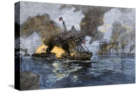 """Farragut's Flagship USS """"Hartford"""" Colliding with the Ironclad CSS """"Tennessee"""", 1864--Stretched Canvas Print"""