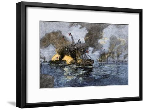 """Farragut's Flagship USS """"Hartford"""" Colliding with the Ironclad CSS """"Tennessee"""", 1864--Framed Art Print"""